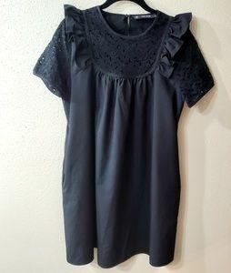 Zara Basic Black Cotton Ruffle/LaceDress